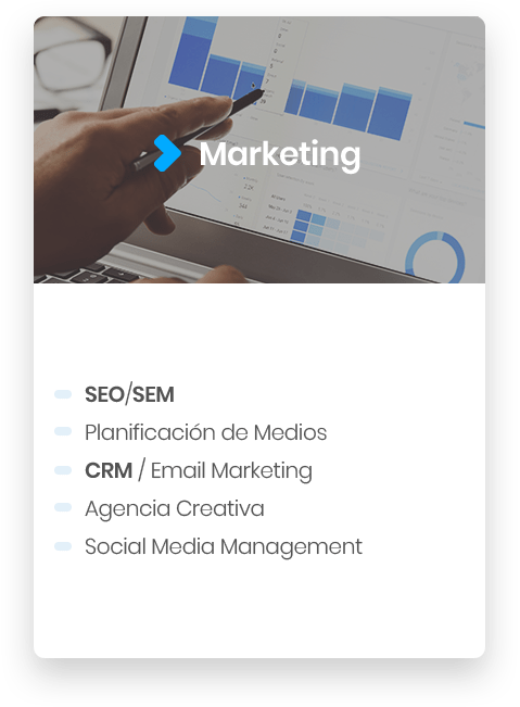 marketing, Seo, sem, planificación de medios, crm, agencia creativa, social media management