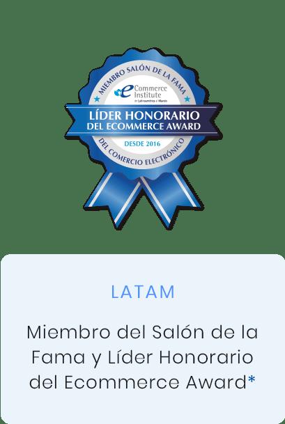 Miembro del salón de la fama y líder honorario del ecommerce award, Chile